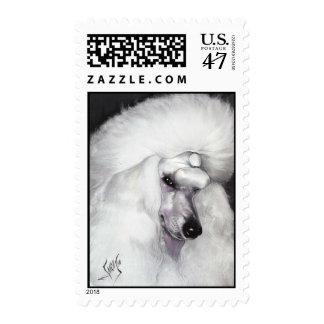 White Standard Poodle Postage