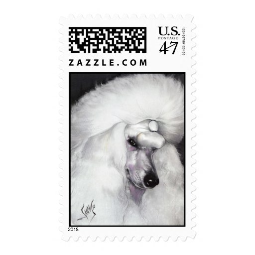 White Standard Poodle Postage