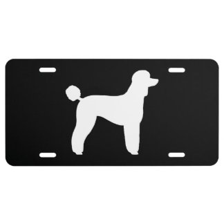 White Standard Poodle Silhouette License Plate