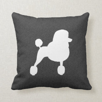 White Standard Poodle Silhouette Pillow