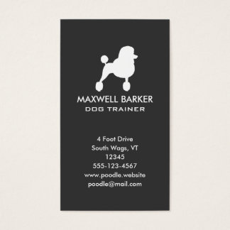 White Standard Poodle Silhouette Vertical Business Card