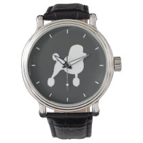 White Standard Poodle Silhouette Watch
