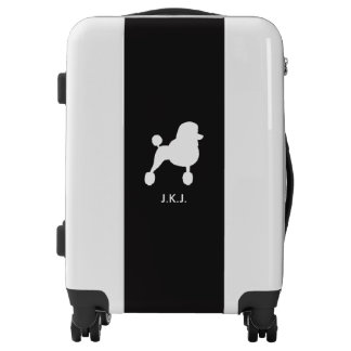 White Standard Poodle Silhouette with Custom Text Luggage