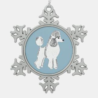 White Standard Poodle Snowflake Ornament