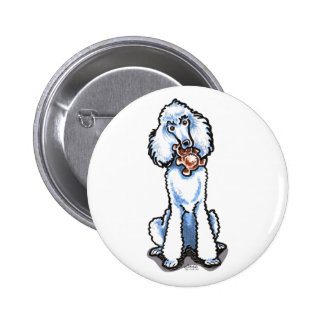 White Standard Poodle Teddy Bear Buttons