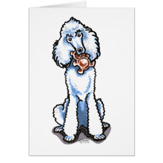 White Standard Poodle Teddy Bear Card