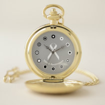 White Standard Ribbon (Bf) by K Yoncich Pocket Watch