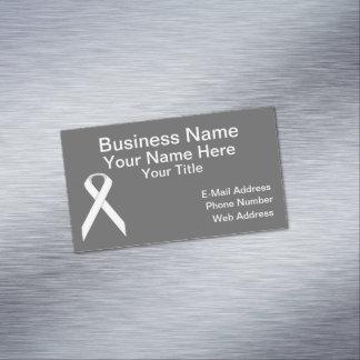 White Standard Ribbon Business Card Magnet