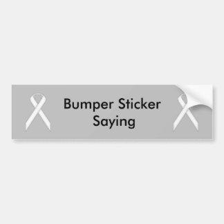 White Standard Ribbon by Kenneth Yoncich Bumper Sticker