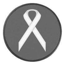 White Standard Ribbon by Kenneth Yoncich Hockey Puck