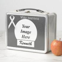 White Standard Ribbon by Kenneth Yoncich Metal Lunch Box