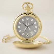 White Standard Ribbon (Cf) by K Yoncich Pocket Watch