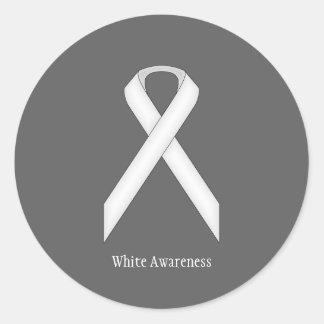 White Standard Ribbon Classic Round Sticker