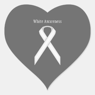White Standard Ribbon Heart Sticker