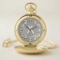 White Standard Ribbon (Kf) by K Yoncich Pocket Watch
