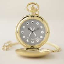 White Standard Ribbon (Mf) by K Yoncich Pocket Watch