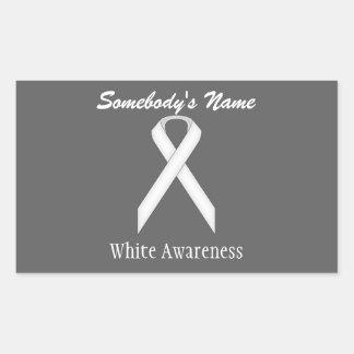 White Standard Ribbon Rectangular Sticker