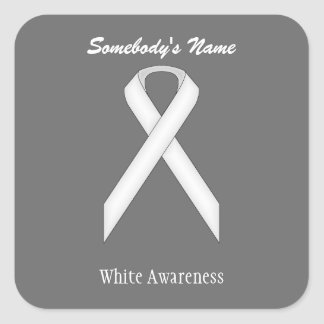 White Standard Ribbon Square Sticker
