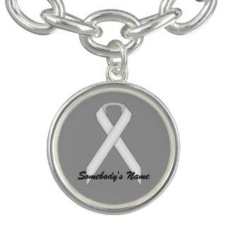 White Standard Ribbon Template Charm Bracelets