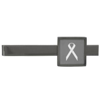 White Standard Ribbon Gunmetal Finish Tie Clip
