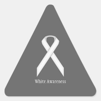White Standard Ribbon Triangle Sticker