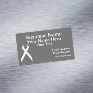 White Standard Ribbon Magnetic Business Cards (Pack Of 25)