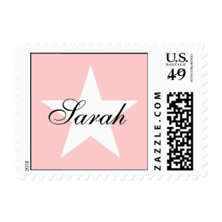 White Star Customizable Background Color Postage