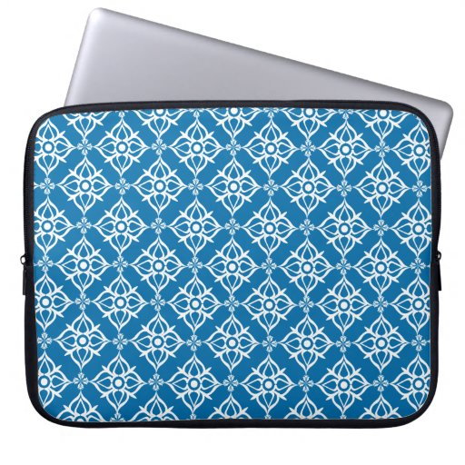 White Star Damask on Cerulean Blue Laptop Computer Sleeve