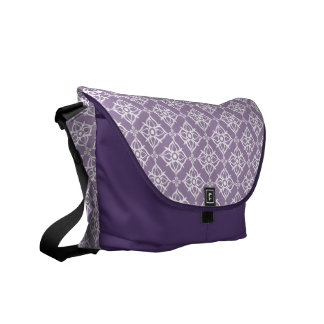 White Star Damask on East Side Violet Courier Bags
