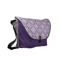 White Star Damask on East Side Violet Messenger Bag