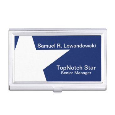 Professional Business White Star Elegant customizable Case For Business Cards
