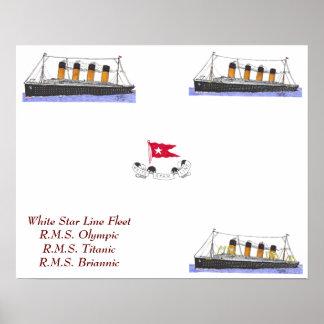 White Star Line Fleet of ships Poster