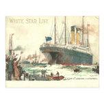 White Star Line R.M.S. Cedric leaves Liverpool Postcard