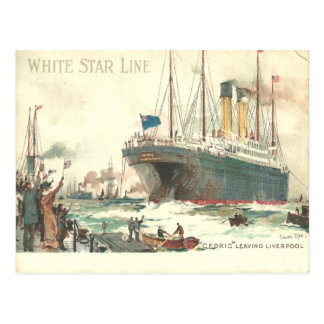 White Star Line R.M.S. Cedric leaves Liverpool Postcard