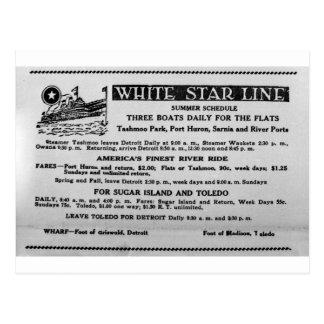 White Star Line Summer Schedule Tashmoo Park Postcard