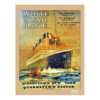 White Star Line Titanic & Olympic ad Postcards