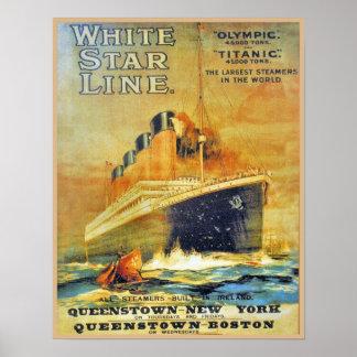 White Star Line Titanic & Olympic ad Print