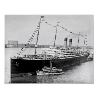 White Star Liner in New York Harbor Poster