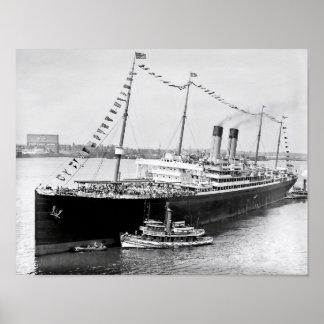 White Star Liner in New York Harbor Poster