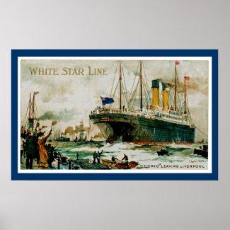 White Star Line's Cedric Leaving Liverpool print