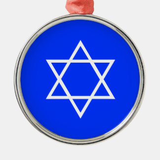White Star of David on Blue Background Ornament