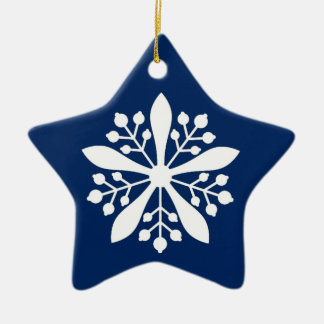 White star of Manchukuo - blue background Ceramic Ornament