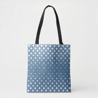 White Star Pattern Blue Tote Bag