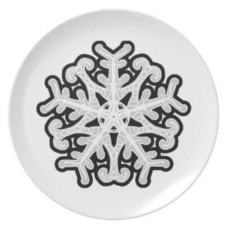 White star snowflake melamine plate