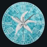 """White Starfish Aqua Sea Glass Personailize Large Clock<br><div class=""""desc"""">White Starfish Aqua Sea Glass Personailize</div>"""