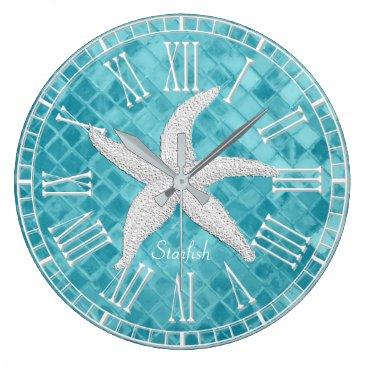 WRAPPED_TOO_TIGHT White Starfish Aqua Sea Glass Personailize Large Clock