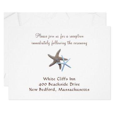 Beach Themed White Starfish Beach Wedding Reception Cards