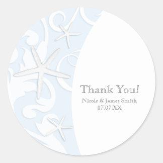 White Starfish Blue Beach Elegant Wedding Classic Round Sticker