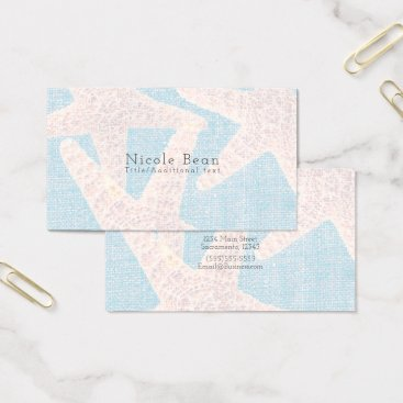 Beach Themed White Starfish & Blue Burlap Beach Modern Chic Business Card