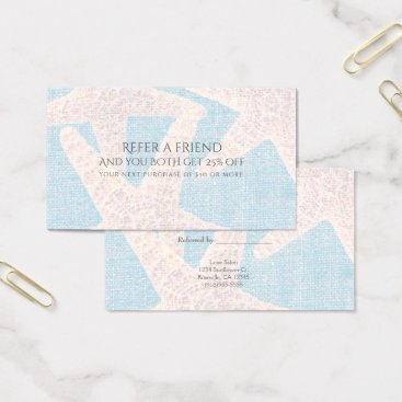 Beach Themed White Starfish & Blue Burlap Beach Refer a Friend Business Card